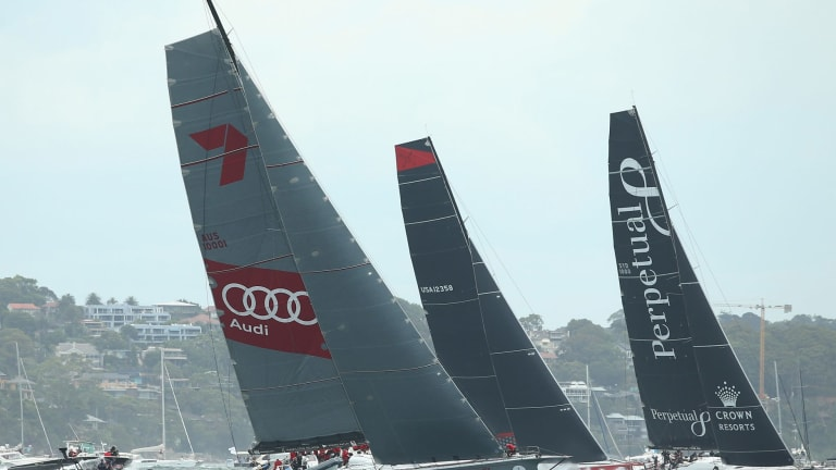 Tight tussle:  Super-maxi Comanche, centre,  battles it out with Perpetual Loyal and Wild Oats XI.