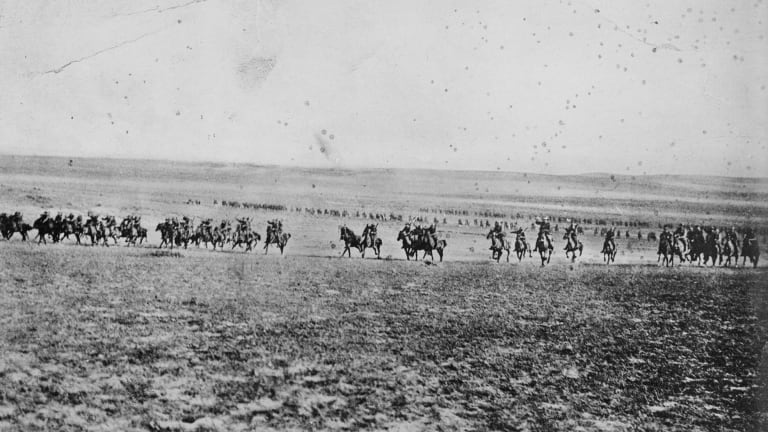 A photograph once believed to depict the charge of the 4th Light Horse Brigade at Beersheba on October 31, 1917. It is now believed to have been taken by photographer Frank Hurley in February 1918.