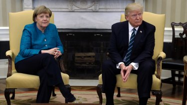 German Chancellor Angela Merkel and US President Donald Trump during their March meeting in Washington DC.