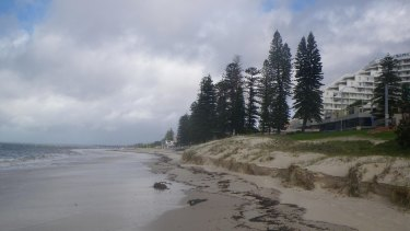 Beach erosion at Botany Bay.