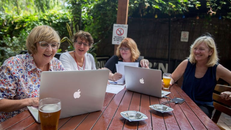 Group writing: the four writers behind the Alice Campion novel <i>The Shifting Light</i>.