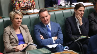 Opposition frontbenchers Tanya Plibersek, Chris Bowen and Kate Ellis during question time.