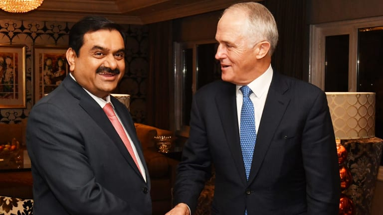 Prime Minister Malcolm Turnbull met with India's Adani Group founder and chairman Gautam Adani in New Delhi on Monday.