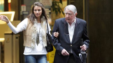 Former NSW premier, the late Neville Wran, with his daughter Harriet in 2011.
