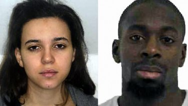 Hayat Boumeddiene (left) and Amedy Coulibaly (right) are suspected of being involved in the killing of a policewoman in Montrouge on January 8. Coulibaly is also supected to have taken  hostages at a kosher grocery store in east Paris.