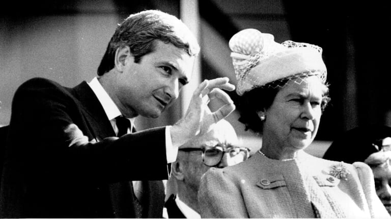 The Queen opens Darling Harbour with Premier, Nick Greiner, May 4, 1988.