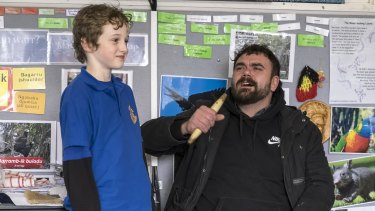 Phil Cooper teaking Indigenous language classes at Thornbury Primary School.