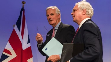 EU chief Brexit negotiator Michel Barnier (left) and British Secretary of State for Exiting the EU David Davis in Brussels.