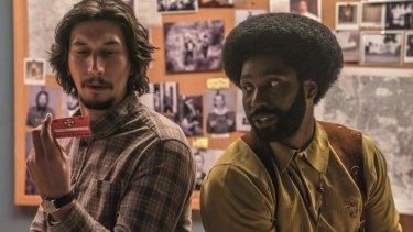 Adam Driver and John David Washington play police officers who  infiltrate the KKK in BlacKkKlansman.