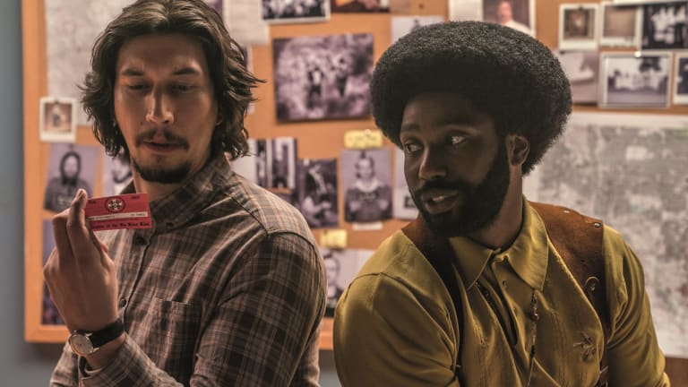Adam Driver and John David Washington play police officers who  infiltrate the KKK in BlacKkKlansman.