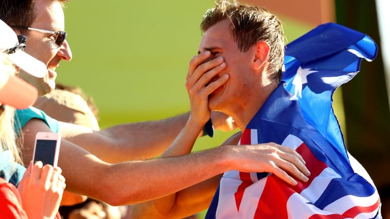 Teary: Dane Bird-Smith after his bronze medal in the 20km walk.