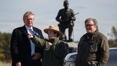 Steve Bannon, right, with park ranger Caitlin Kostic and Donald Trump at the Gettysburg National Military Park in October.