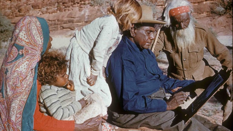 Albert Namatjira with his wife Rubina, grandchildren and father Jonathon.
