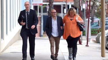 Tony Chetcuti (middle) leaving court in Wangaratta in September 2016 after Cardamone was charged.