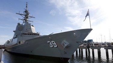 The HMAS Hobart air warfare destroyer.