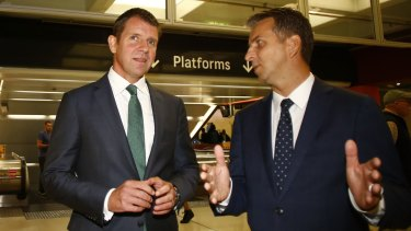 NSW Premier Mike Baird, left, and Transport Minister Andrew Constance at Martin Place Station on Wednesday.