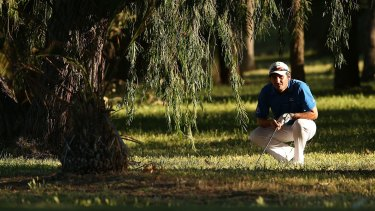 Peter Whiteford of Scotland checks his shot on the ninth hole during day two of the Perth International on Friday.