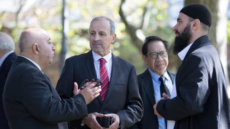 From left: International Coptic Union vice-president Hany Gayed, NSW Jewish Board of Deputies Vic Alhadeff, the Chinese Australian Forum's Tony Pang and Imam Wessam Charkawi of the Australian National Imams Council are members of the Keep NSW Safe coalition.