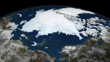 Shrinking: Arctic sea ice.