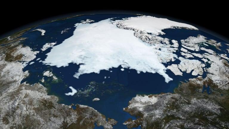 Shrinking: Arctic sea ice.