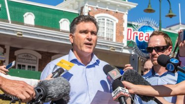 Dreamworld CEO Craig Davidson addresses reporters the day after the accident.