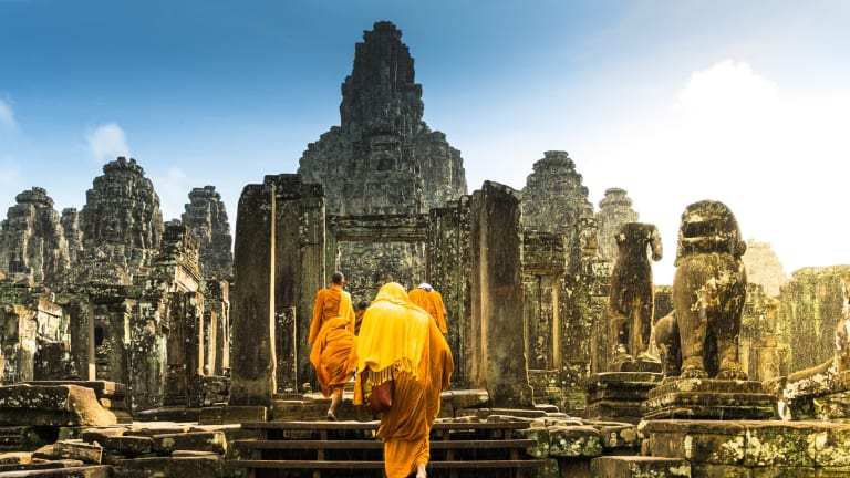 The Bayon temple in Angkor Wat, Cambodia.