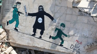 A mural in the besieged Syrian city of Daraya accuses Syrian government troops (right) of fleeing in the face of black-clad militants of Islamic State, leaving rebels (left) to fight them.