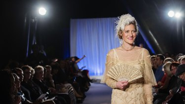 Kelly Doust on the catwalk at 100 Years of Power Dressing in Sydney last year.