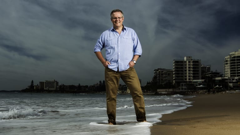 Scott Morrison on the beach at North Cronulla.