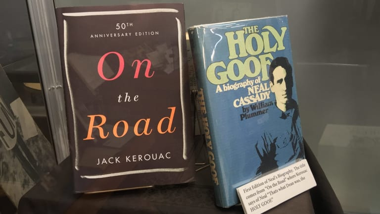 On the Road - bible of the Beat Generation -  is displayed inside San Francisco's Beat Museum.