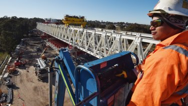 The Skytrain from the vantage of Cudgegong Road, the far north west of the rail project.