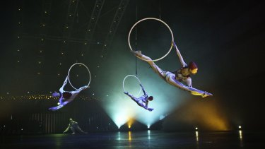 Lisa Skinner with her fellow aerial hoop artists in Cirque Du Soleil's Quidam.