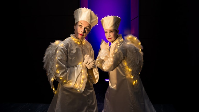 'Angels' from Born In A Taxi will appear in a transparent cube at QV as part of participatory projection performance <i>Enlightenment</i> for White Night Melbourne 2017.