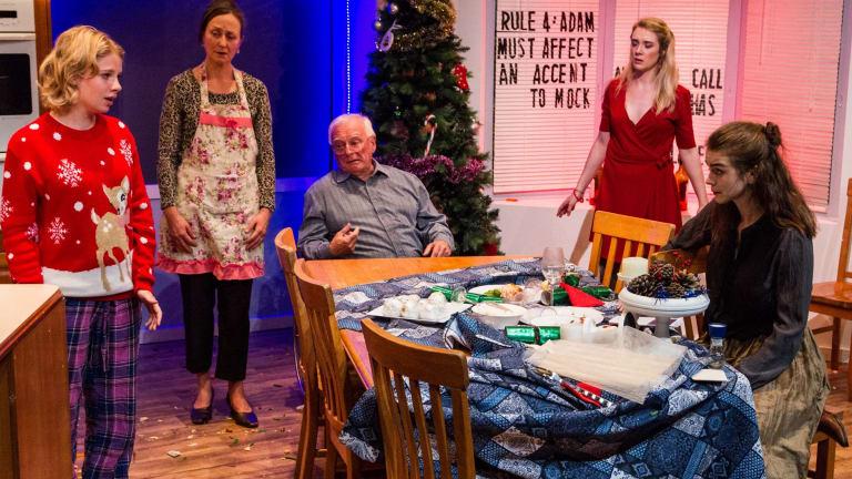 Merry Christmas: (from left) Ella McCarthy, Caroline Lee, Ian Rooney, Jem Nicholas and Jessica Clarke.