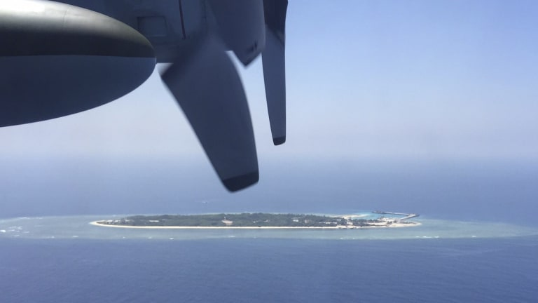In dispute: An aerial view of a Taiwan-controlled island in the South China Sea.