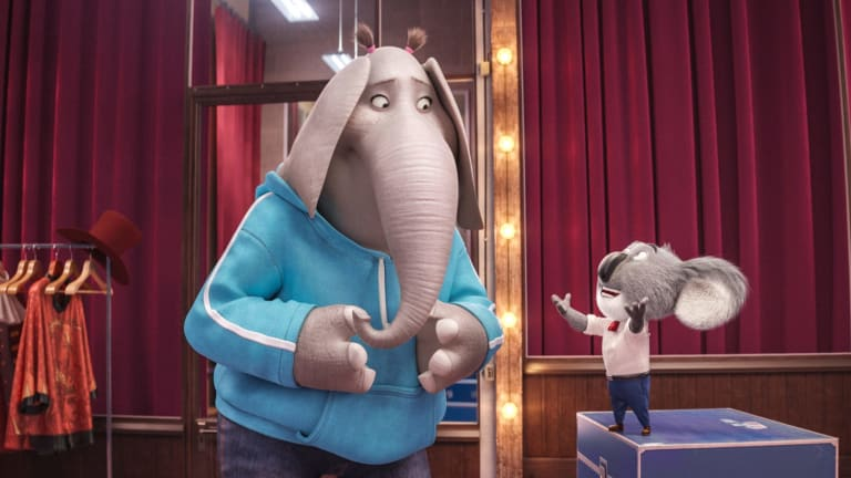 Tori Kelly voices Meena the elephant, with Matthew McConaughey as Buster Moon.