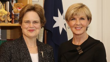 Frances Adamson with Foreign Affairs Minister Julie Bishop
