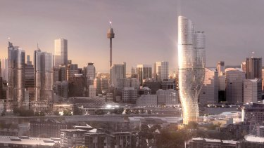 Artist impressions by fjmt architects of a new $500m hotel being built by The Star at Darling Harbour.
