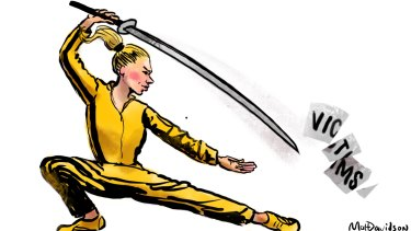 Some women might find martial arts lessons more useful than helplines when confronted with sexual predators. Illustration: Matt Davidson.