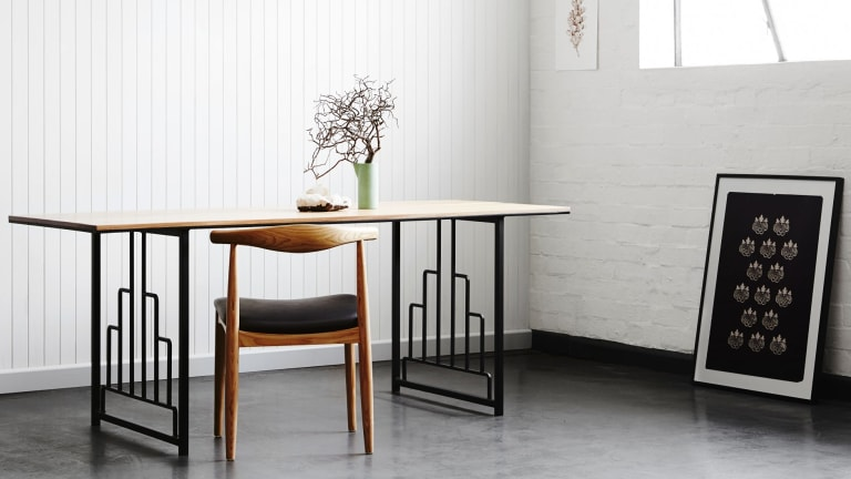 Tasmanian oak timber and art deco steel table from Handkrafted.