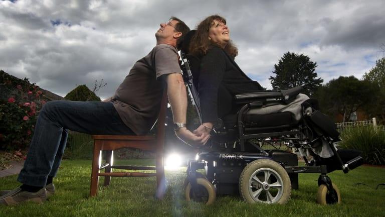 Motor neurone disease sufferer Debbie Ridley with her husband, Allan.