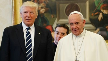 US President Donald Trump and Pope Francis at the Vatican in May.