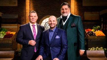 Calombaris flanked by fellow MasterChef  judges Gary Mehigan (left) and Matt Preston.
