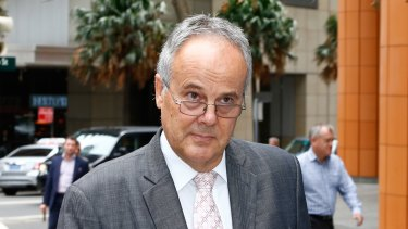 The King's School's then headmaster Timothy Hawkes outside the royal commission after giving evidence.