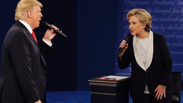Republican nominee Donald Trump and his Democrat opponent Hillary Clinton square off in the second presidential debate at Washington University in St Louis.