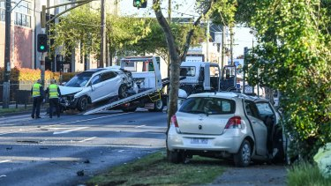 The aftermath of the Warrigal Road crash.
