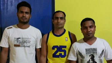 Asylum seekers who were on a second boat intercepted by Australia, from left: KA (who asked not to be named), Mukhtar Ahmed and Mamun Parves.
