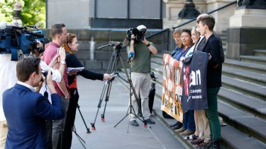 This is where it began: Members of the International Campaign to Abolish Nuclear Weapons (ICAN) on the steps of Parliament in Melbourne, where they launched in 2007, hours before the Nobel Peace Prize was  presented in Oslo.