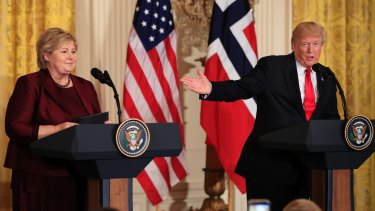 Norwegian Prime Minister Erna Solberg with Trump at the White House in Washington on Wednesday.