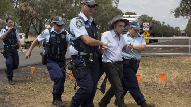 Civil disobedience: Professor Colin Butler was arrested at the Gunnedah coal-processing plant on Wednesday.